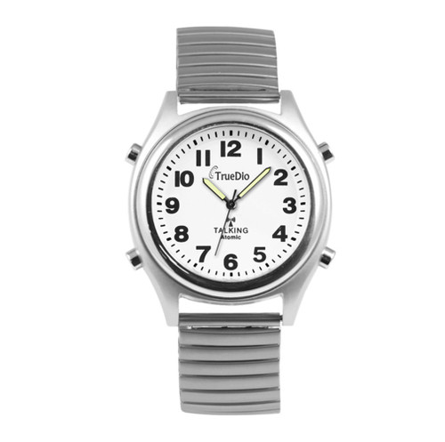 Atomic Talking Watch by Truedio - Men's Talking Wrist Watch for Visually Impaired with Stretch or Leather Band - Loud and Clear American Voice Speaks Alarm, Time, Day, Date, and Year