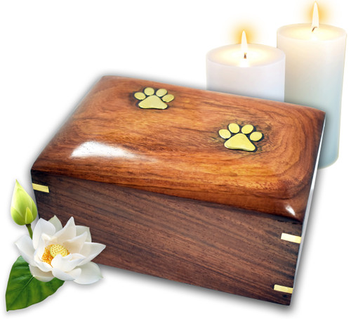 Lindia Artisans Beautiful Wooden Pet Urn with Brass Paw Design (Small or Medium Size) - Rosewood Pet Cremation Urn - Perfect Memorial Pet Urns for Dog and Cat Ashes