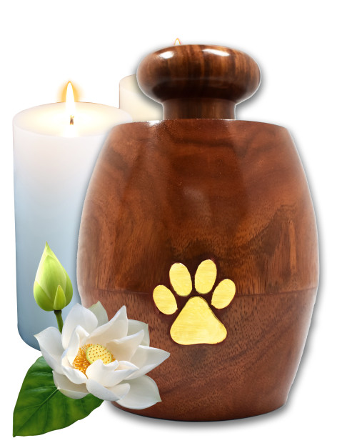 Lindia Artisans Beautiful Wooden Pet Urn Jar with Brass Paw Print (Small Size, Supports 15 lb Pet) - Rosewood Pet Cremation Urn - Perfect Memorial Pet Urns for Dog and Cat Ashes