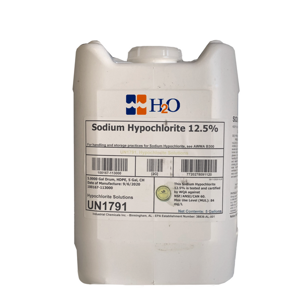 Sodium Hypochlorite 12.5%. Tested and Certified