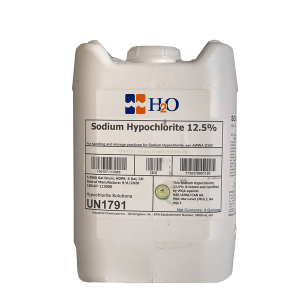 CL0901B -  Sodium Hypochlorite 12.5% NSF Rated Food Grade for Potable water 5GALLON