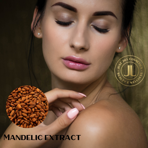 Mandelic Acid is an alpha hydroxy acid. Derived from bitter almonds, it has a number of benefits for the skin. The molecular structure of mandelic acid is larger than better known alpha hydroxy acids such as glycolic acid and lactic acid. This means it takes longer to penetrate the skin's surface and is much less irritating.