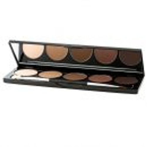 Choose a palette from your shade range.  Each palette has lighter highlight and darker contour shades in blendable, cream product with a matte finish.  Blend lightly with brush over your foundation for best results.