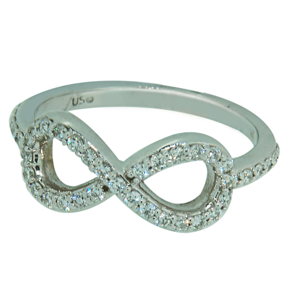 Infinity Ring with Round cut Diamonds set in 14Kt White Gold 73903REF