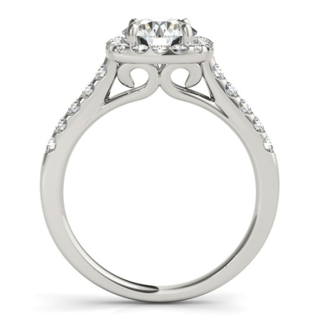 14KT White Gold Round Diamond Halo Engagement Ring  50576-E