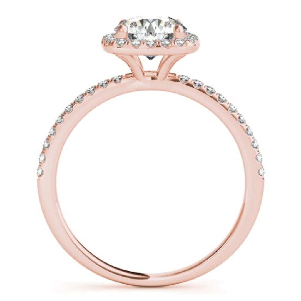 14KT White Gold Round Diamond Halo Engagement Ring 50893-E