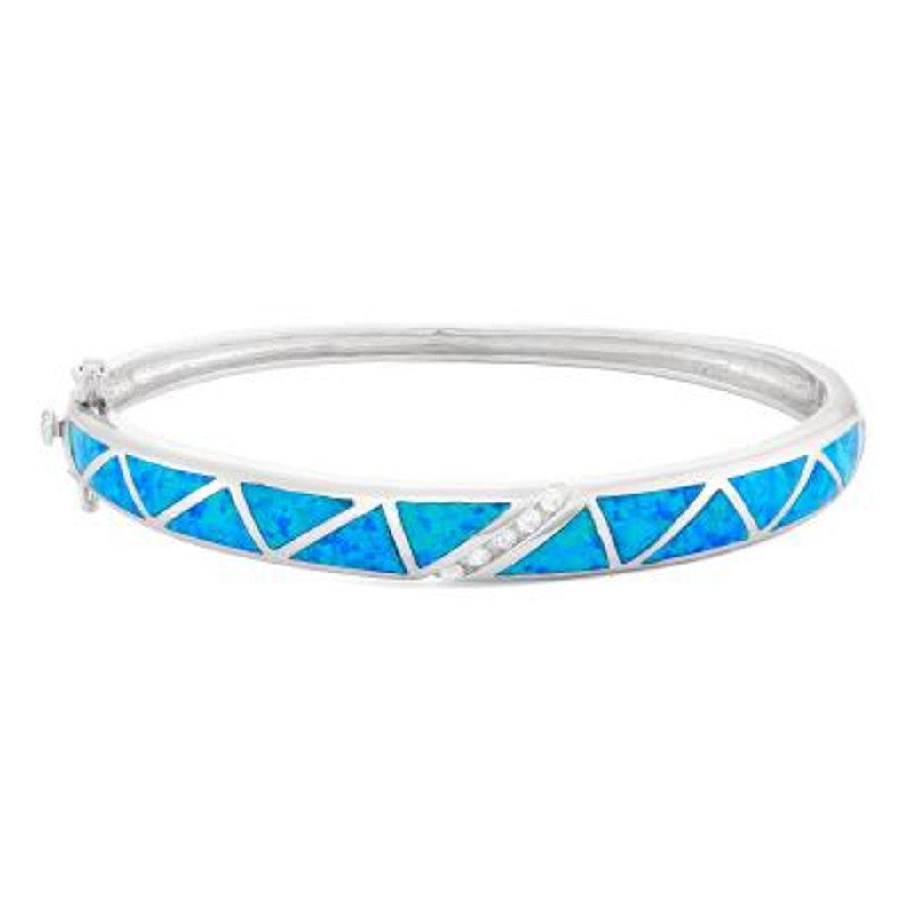 CZ and Blue Inlay Opan BanSterling Silver CZ And Blue Inlay Opal Bangle gle