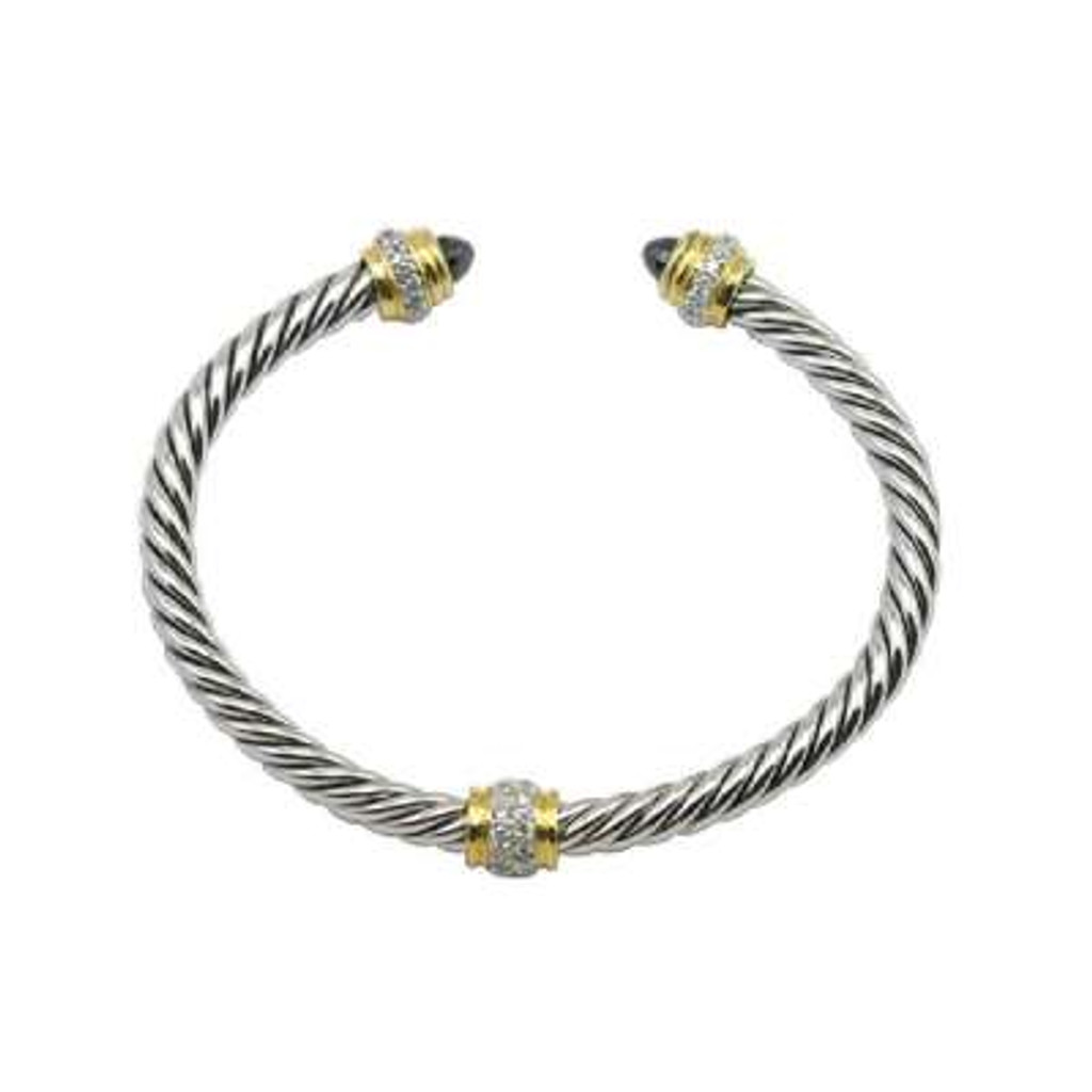 Sterling Silver Cable Bangle with Gold Plated & CZ Center and Edges, with Black CZ Ends