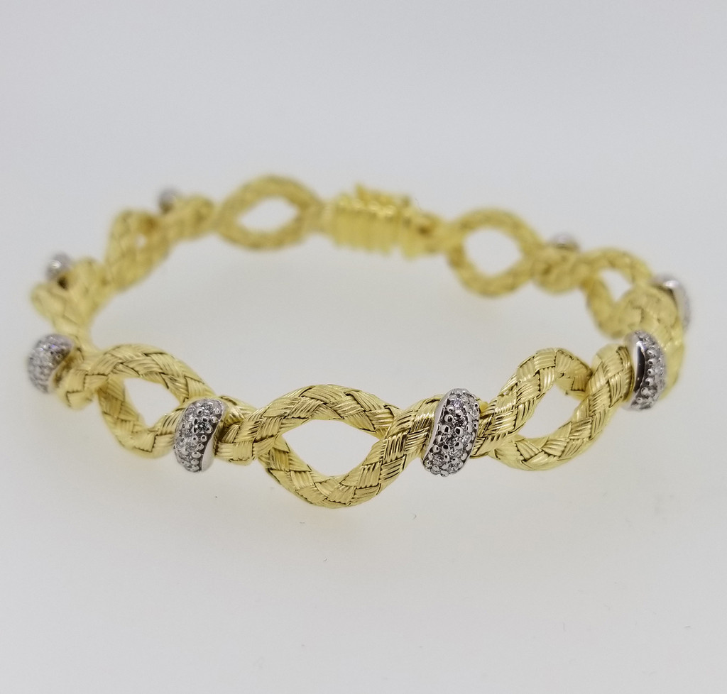 14KT Yellow Gold & Round Cut Diamond Braided Bangle 0.80 ctw