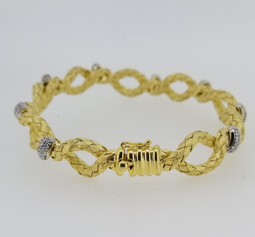 14KT Yellow Gold & Round Cut Diamond Braided Bangle 0.80 ctw