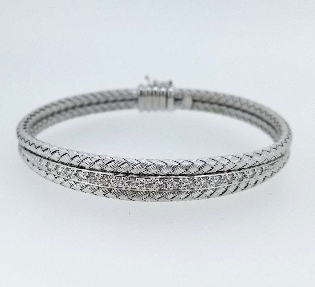 14KT White Gold & Round Cut Diamond Braided Bangle 0.85 ctw