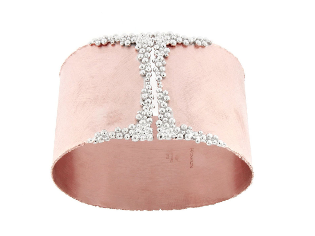Italian Silver Wide Cuff Bangle Rose Gold Plated S044.0263