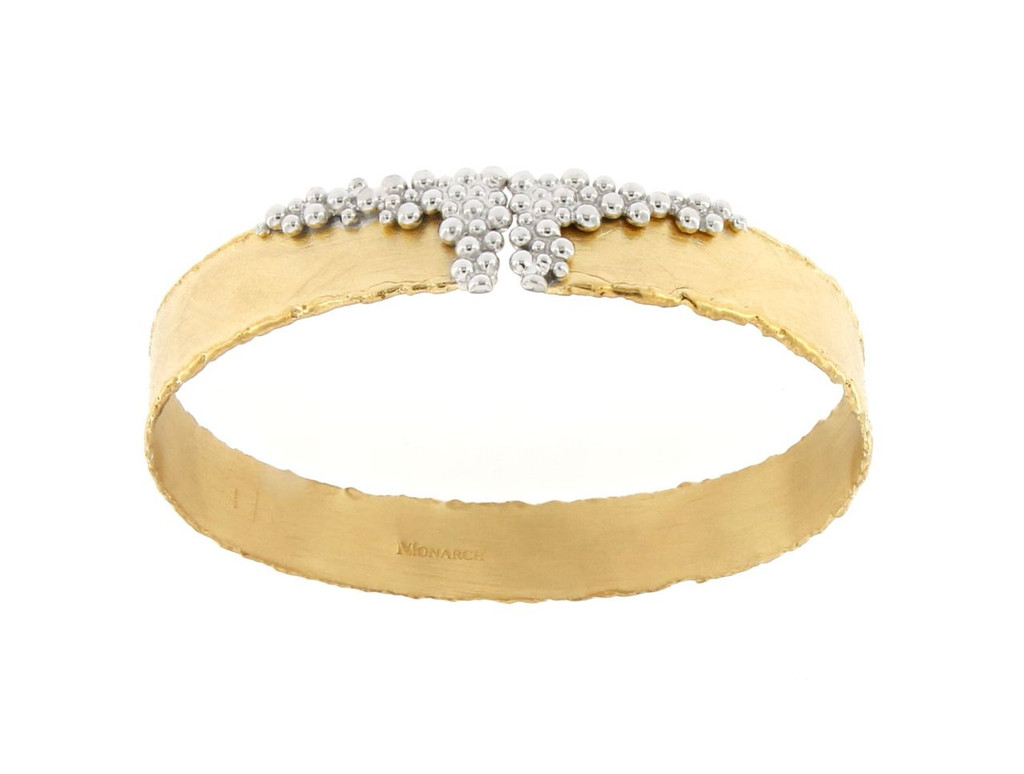 Italian Silver & Cubic Zirconia Wide Cuff Bangle  Gold Plated S044.0263SF