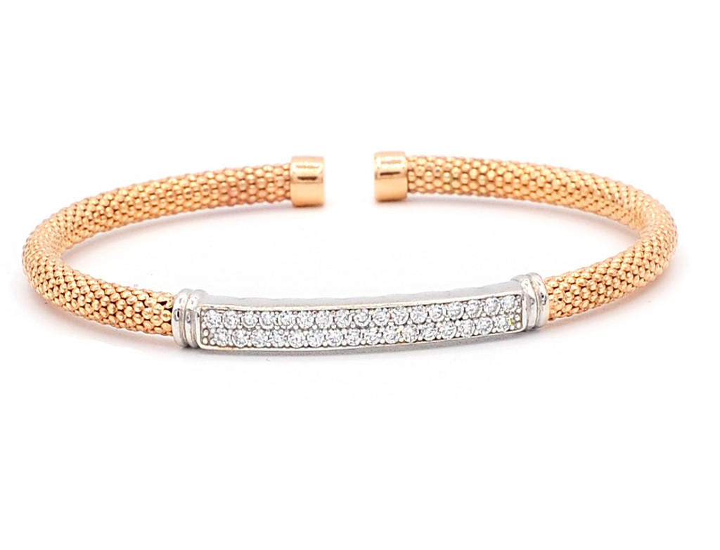 Italian Silver & Cubic Zirconia Wide Cuff Bangle  Gold Plated ITBR574