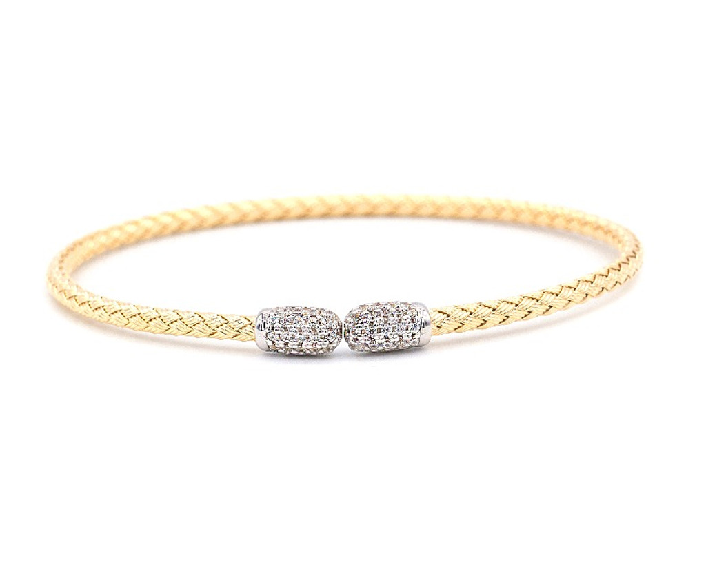 Italian Silver & Cubic Zirconia Wide Cuff Bangle  Gold Plated TR3907