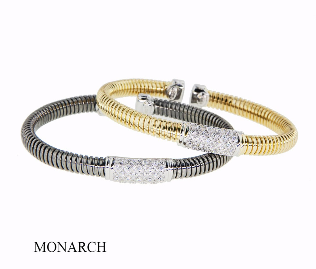 Italian Silver & Cubic Zirconia Wide Cuff Bangle  Gold Plated DF2375/B