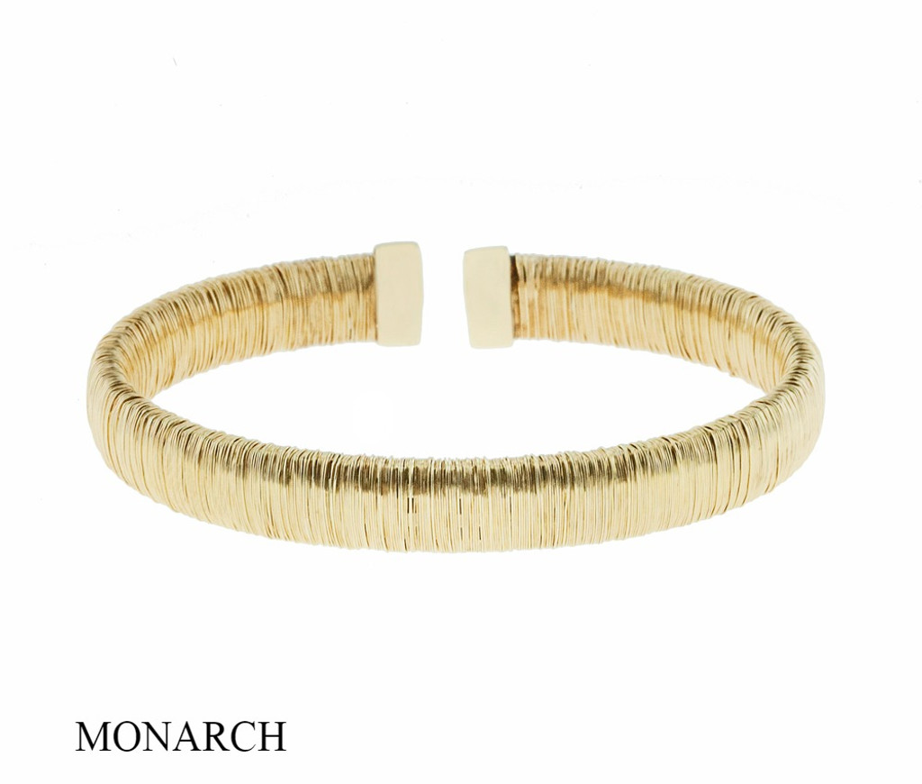 Italian Silver & Cubic Zirconia Wide Cuff Bangle  Gold Plated MS297A046
