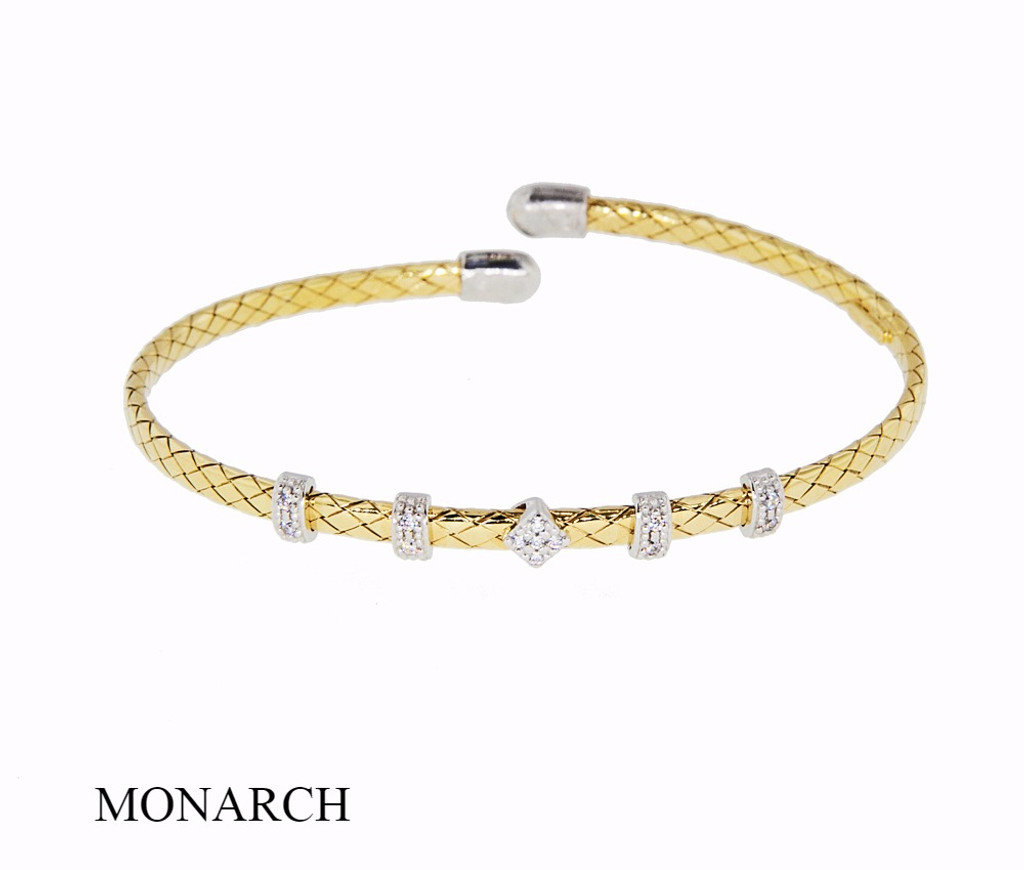 Italian Silver & Cubic Zirconia Wide Cuff Bangle  Gold Plated INTVSC3200