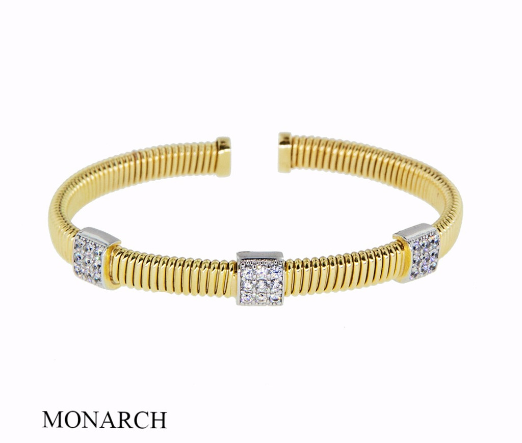 Italian Silver & Cubic Zirconia Wide Cuff Bangle  Gold Plated DF1925