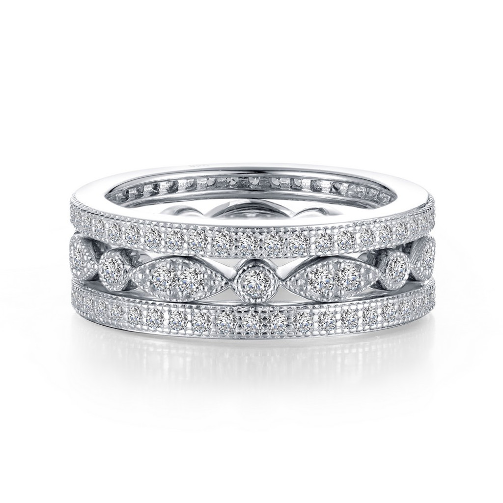 Lafonn's signature Lassaire simulated Diamond Stackable Ring R0369CLP