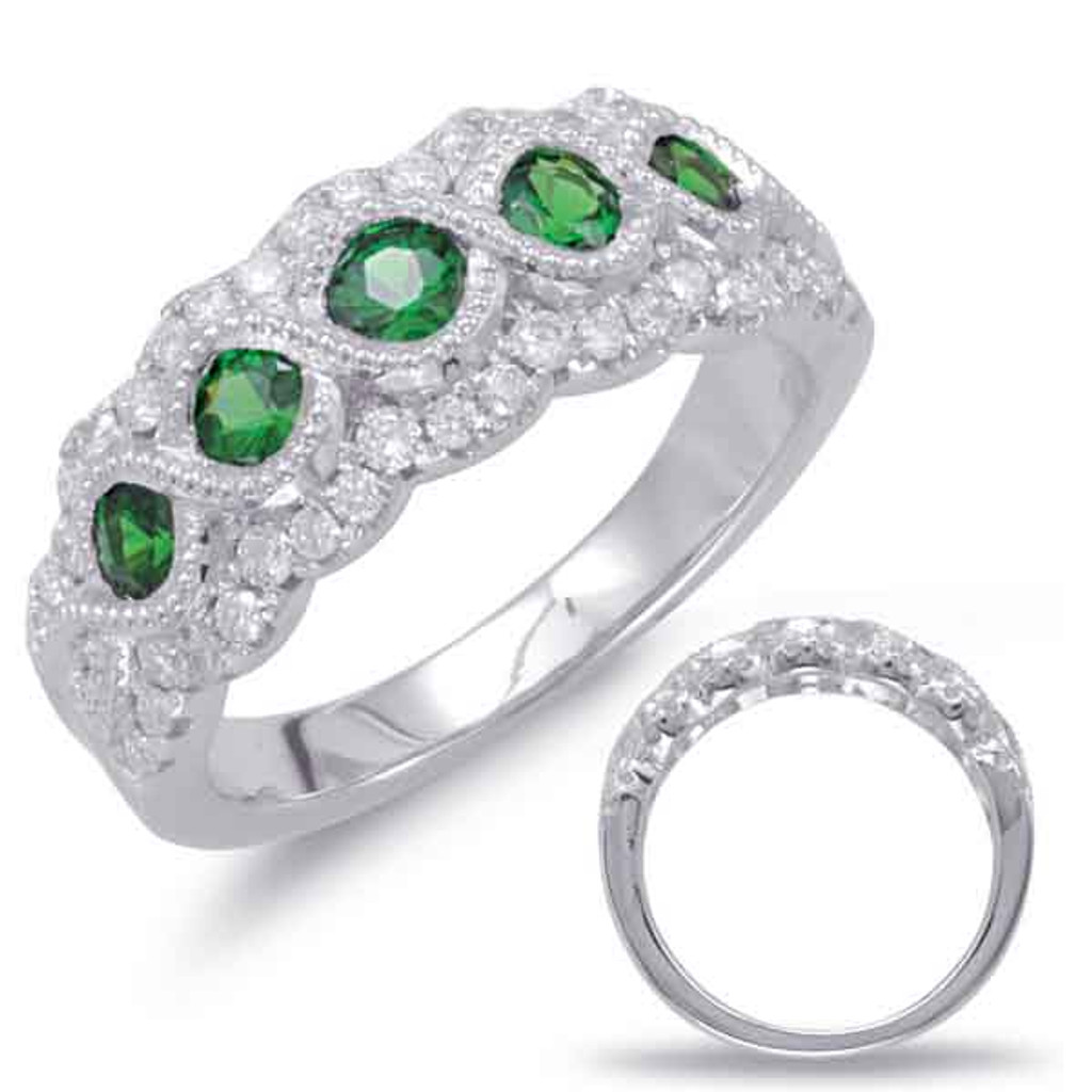 14KT White Gold Emerald & Diamond Stackable Ring  C5782-EWG