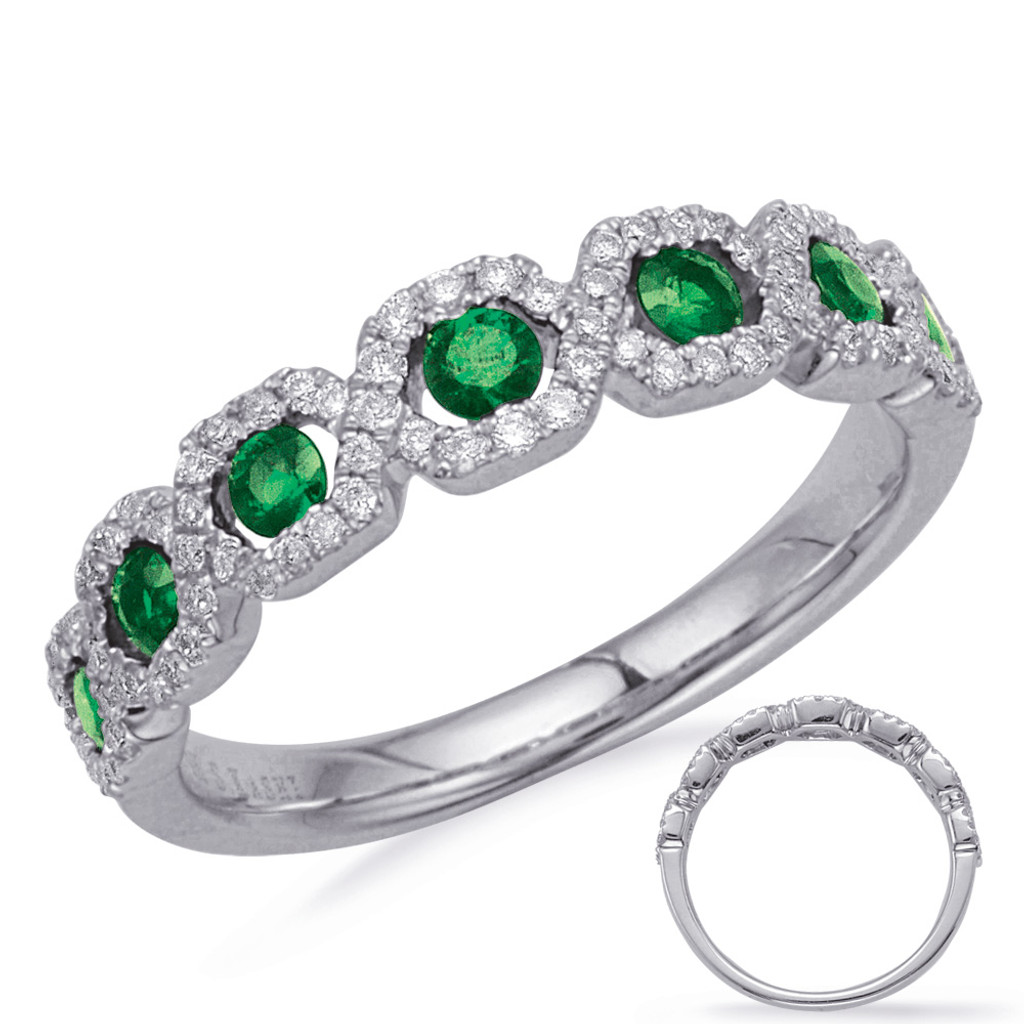 14KT White Gold Emerald & Diamond Stackable Ring  C5836-EWG