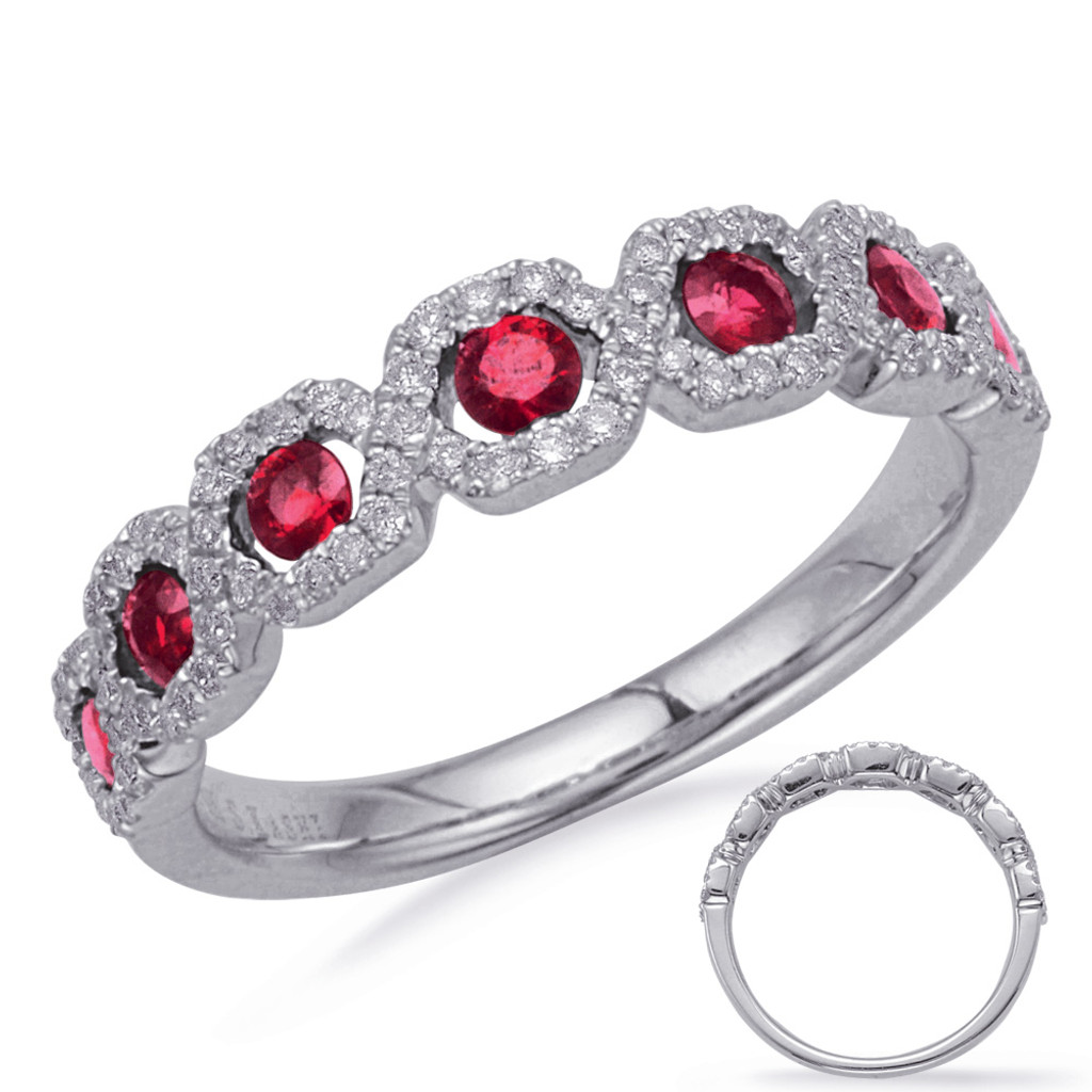 14KT White Gold Ruby & Diamond Stackable Ring  C5836-RWG