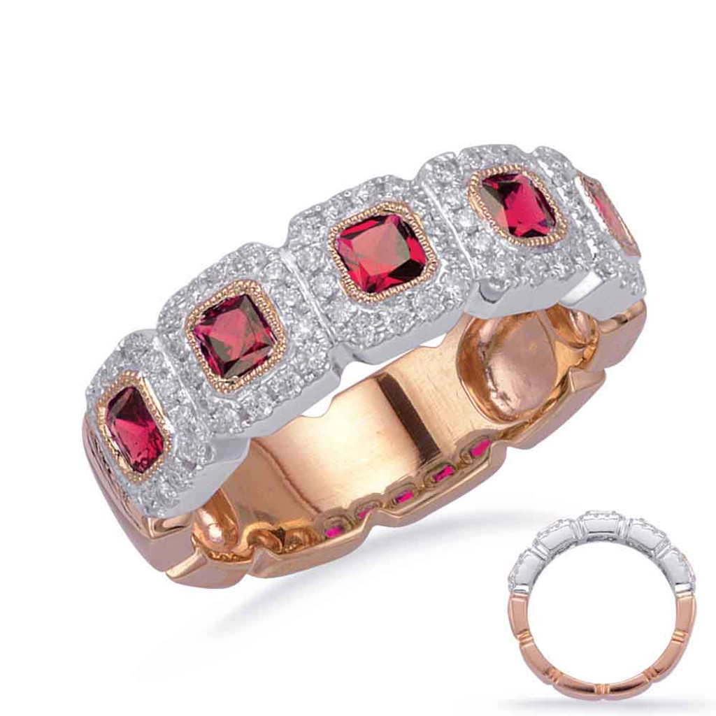 14KT Rose & White Gold Ruby & Diamond Stackable Ring  C5838-RRW