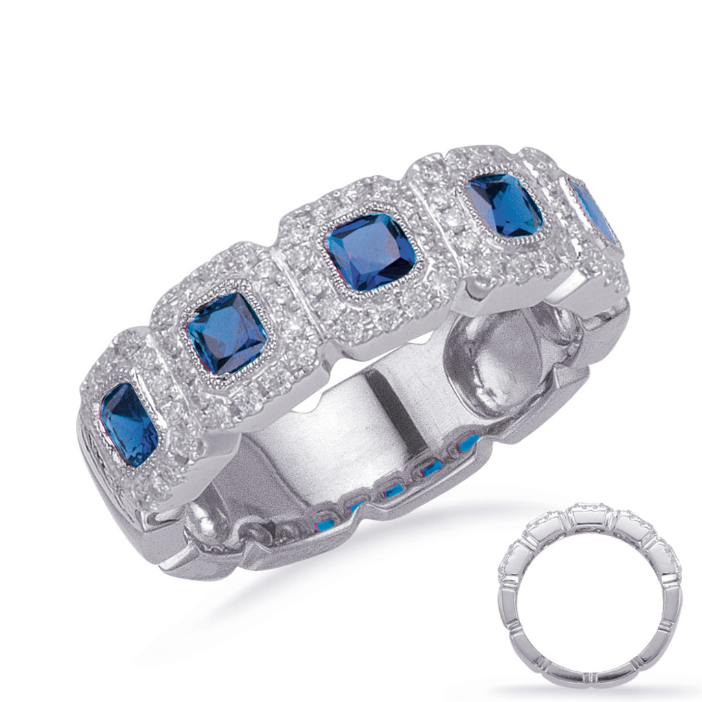 14KT White Gold Sapphire & Diamond Stackable Ring C5838-SWG