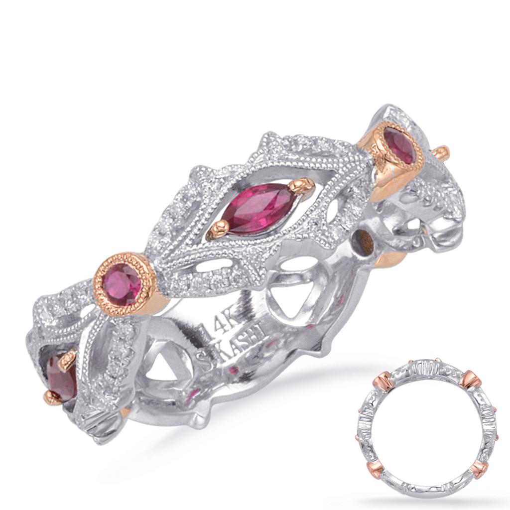 14KT Rose & White Gold Ruby & Diamond Stackable Ring  C4711-RRW