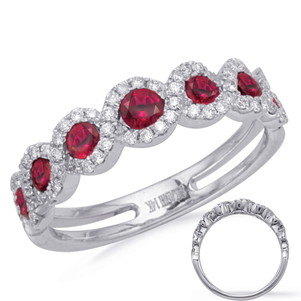 14KT White Gold Ruby & Diamond Stackable Ring  C4264-RWG