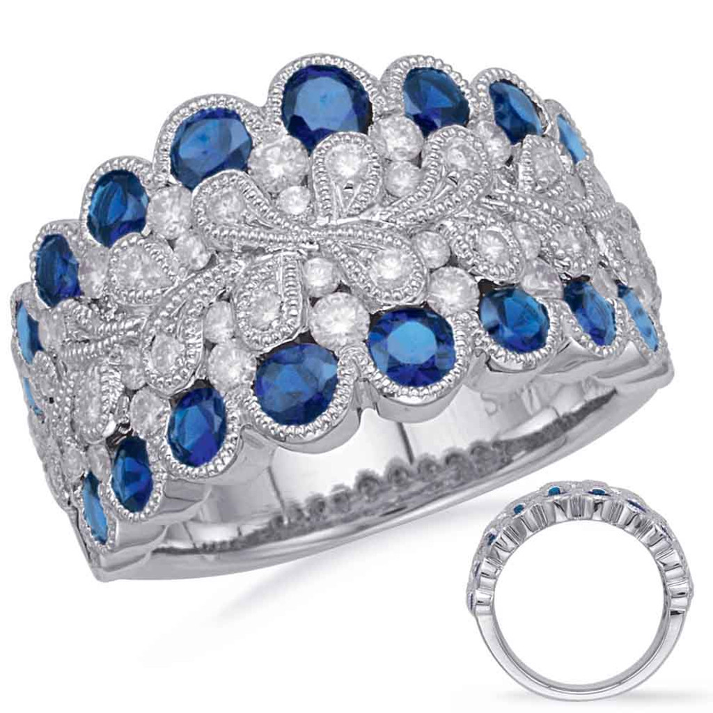 14KT White Gold Sapphire & Diamond Stackable Ring  C5837-SWG