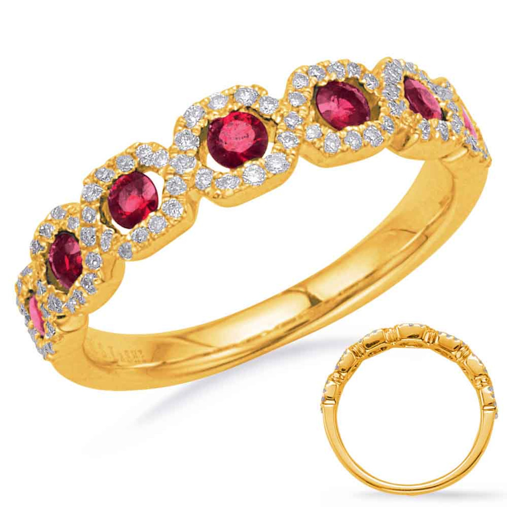 14KT Yellow Gold Ruby & Diamond Stackable Ring  C5836-RYG