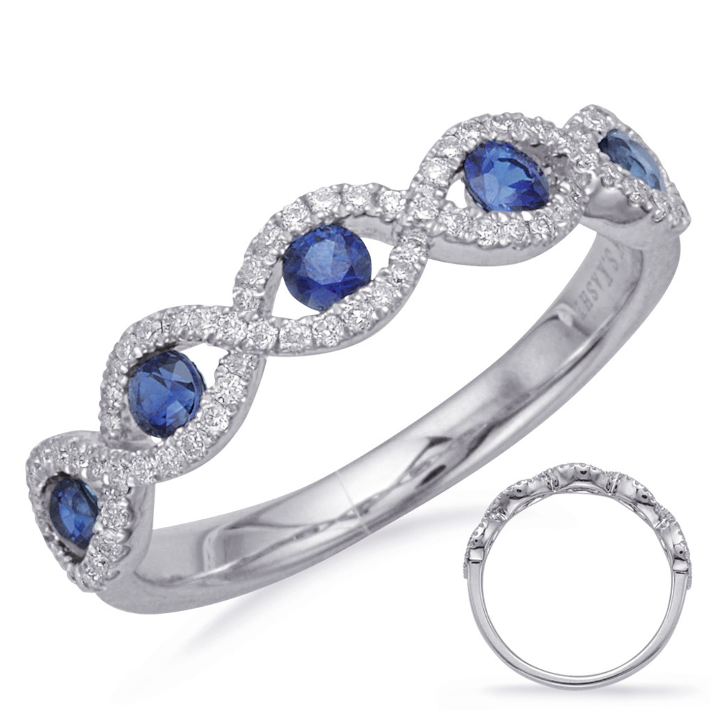 14KT White Gold Sapphire & Diamond Stackable Ring  C5834-SWG