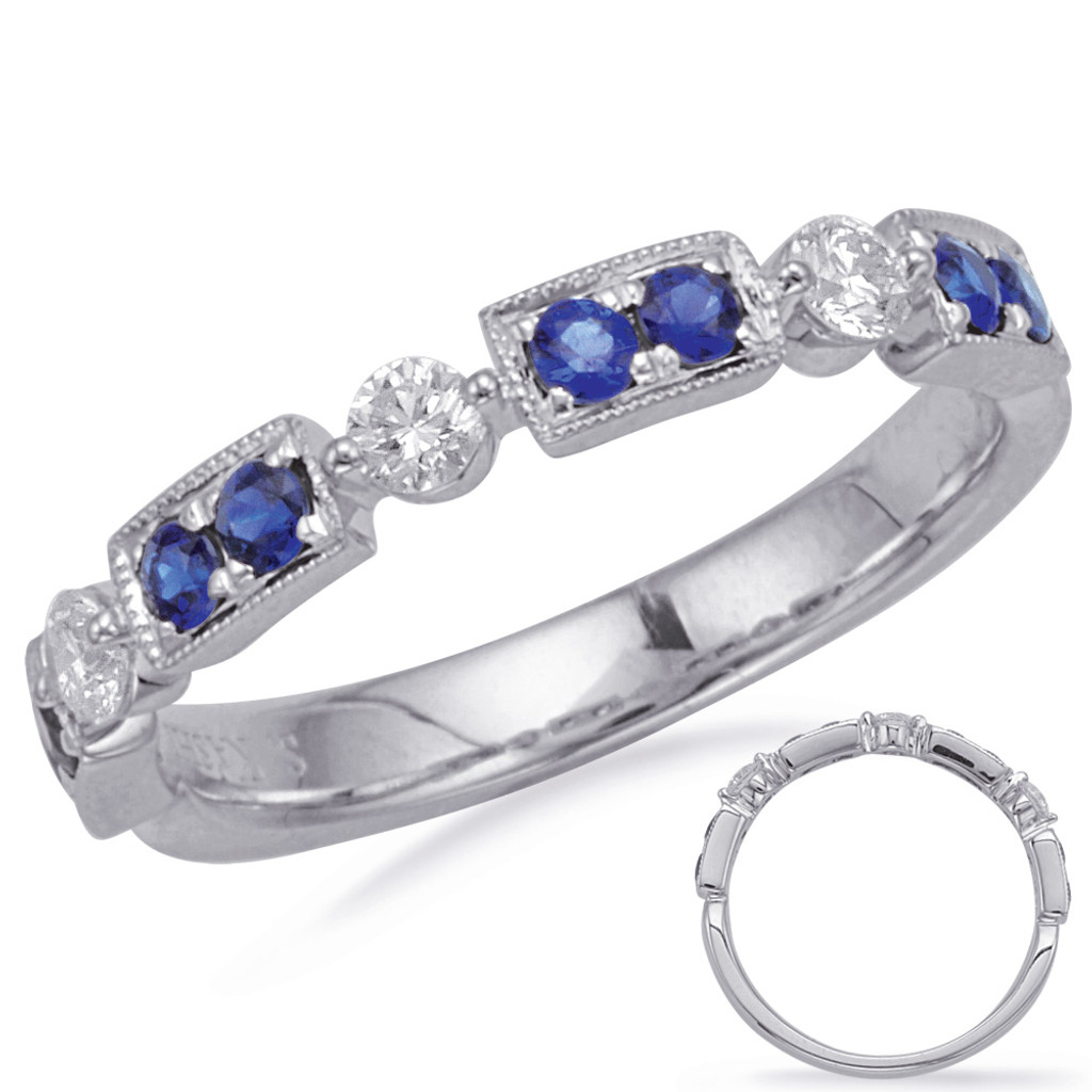 14KT White Gold Sapphire & Diamond Stackable Ring  C5833-SWG