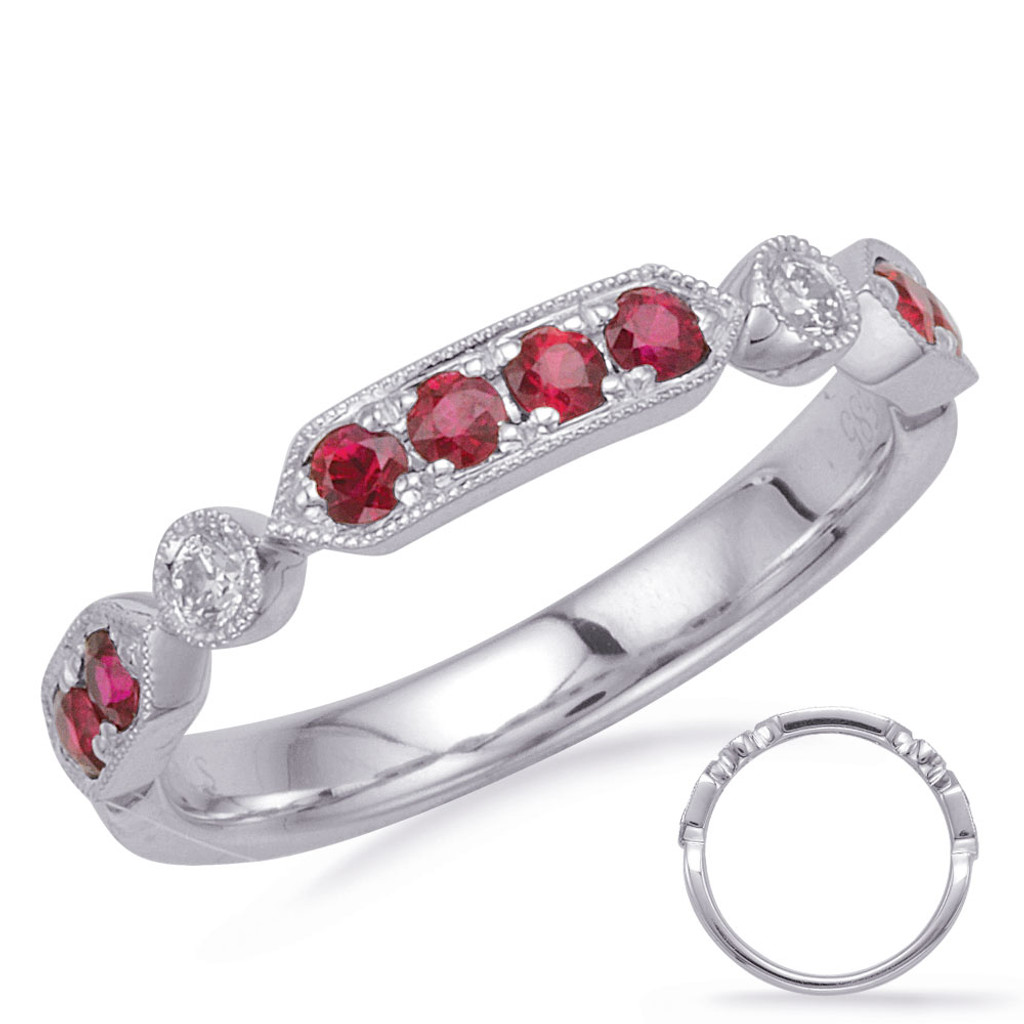 14KT White Gold Ruby & Diamond Stackable Ring  C5832-RWG