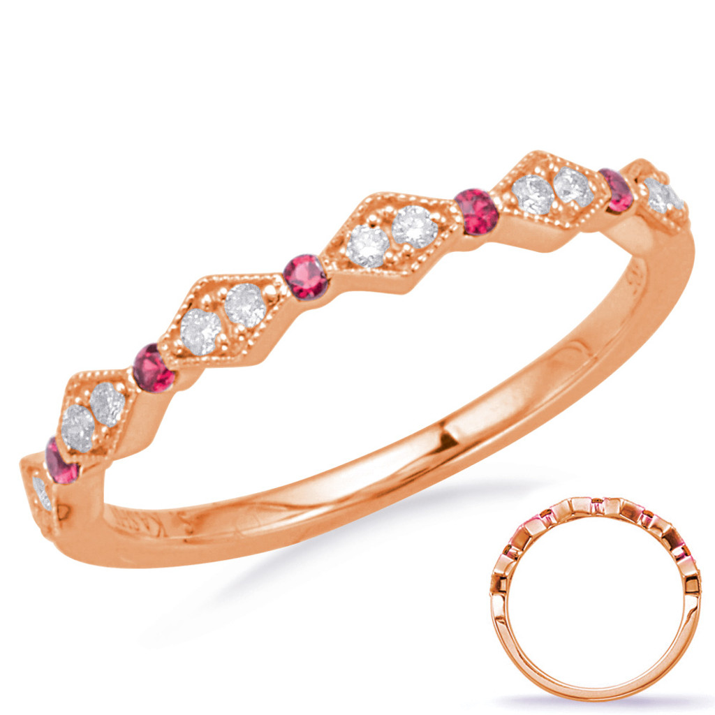 14KT Rose Gold Ruby & Diamond Stackable Ring  C8031-RRG