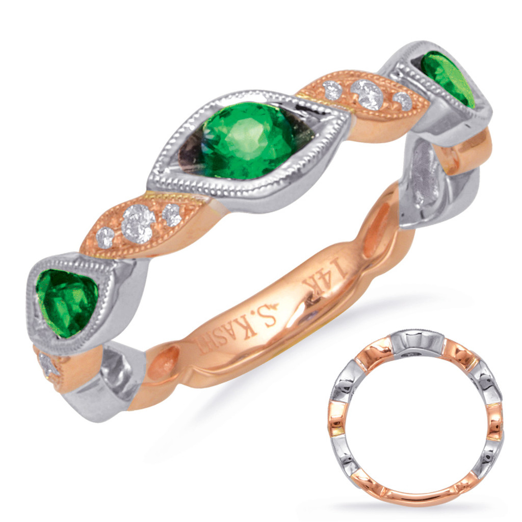 14KT Rose & White Gold Emerald & Diamond Stackable Ring  C5830-ERW