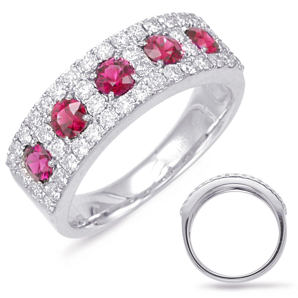 14KT White Gold Ruby & Diamond Stackable Ring  C5791-RWG