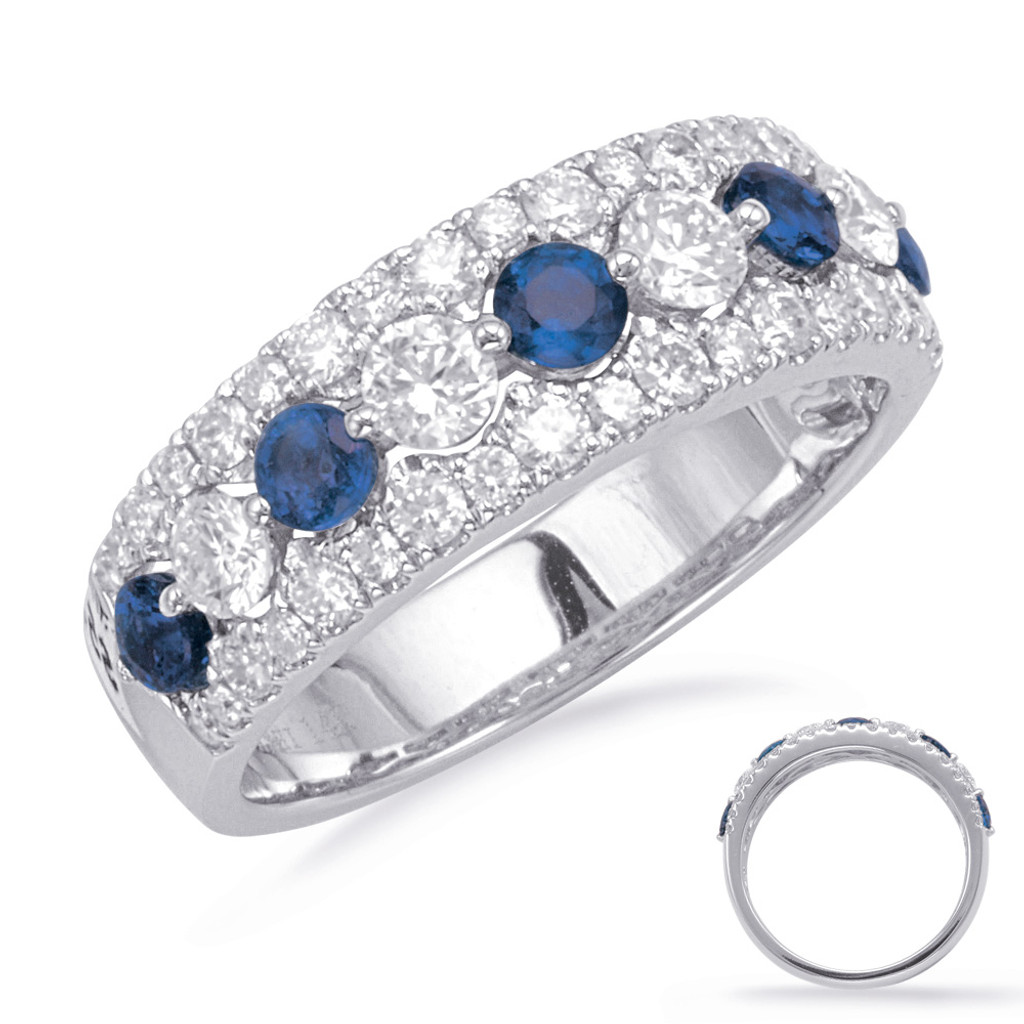 14KT White Gold Sapphire & Diamond Stackable Ring  C5829-SWG