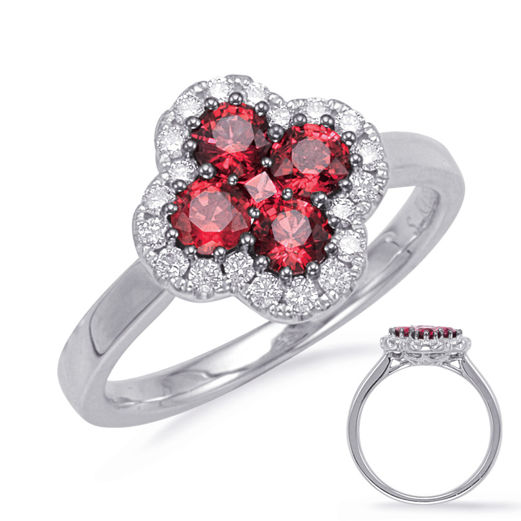 14KT White Gold Ruby & Diamond Stackable Ring  C5828-RWG