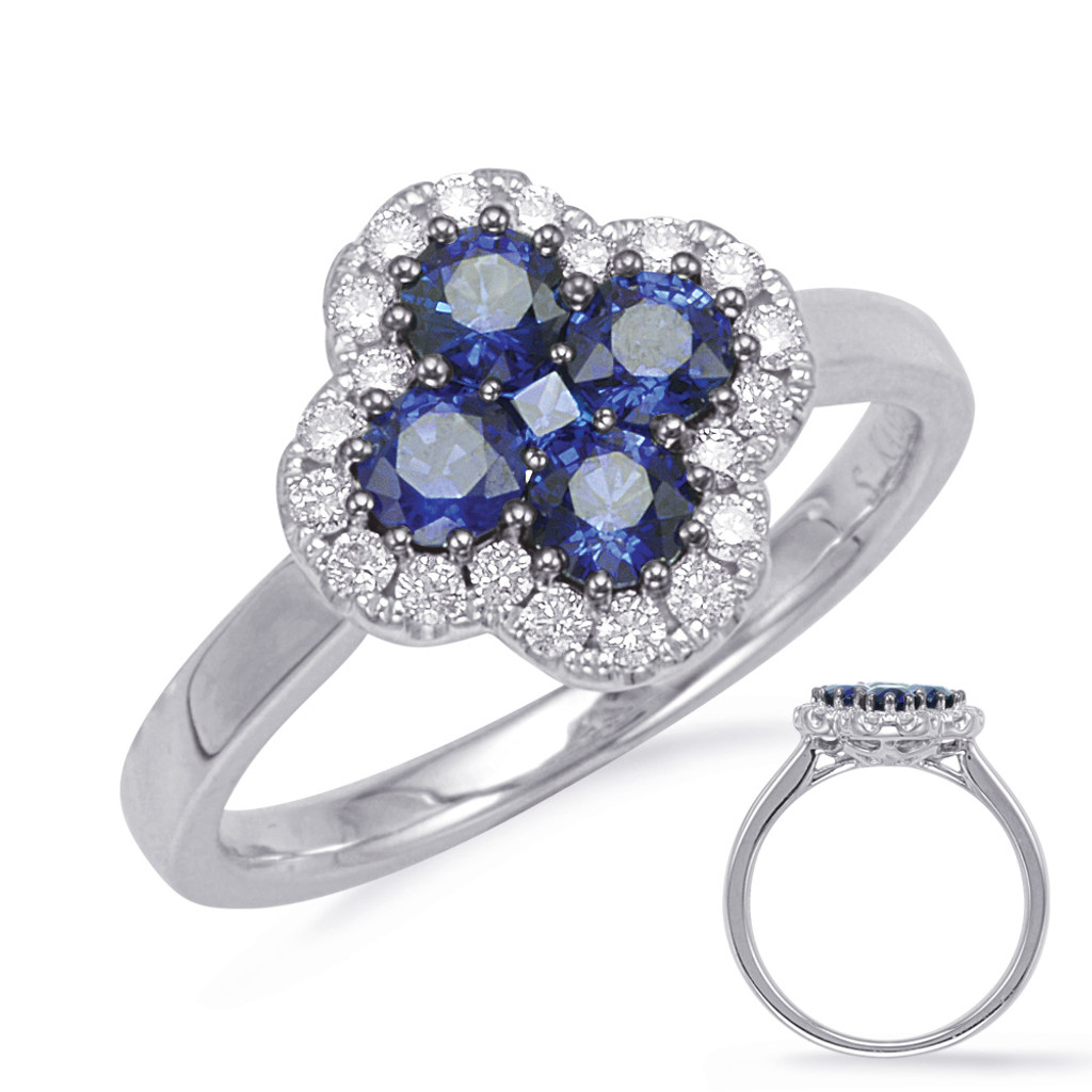 14KT White Gold Sapphire & Diamond Stackable Ring  C5828-SWG