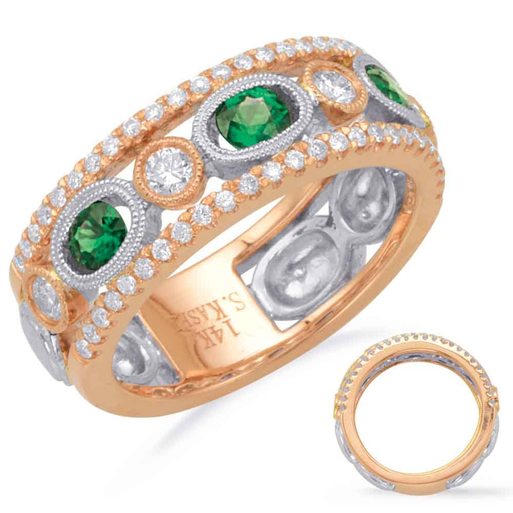 14KT Rose & White Gold Emerald & Diamond Stackable Ring  C5809-ERW