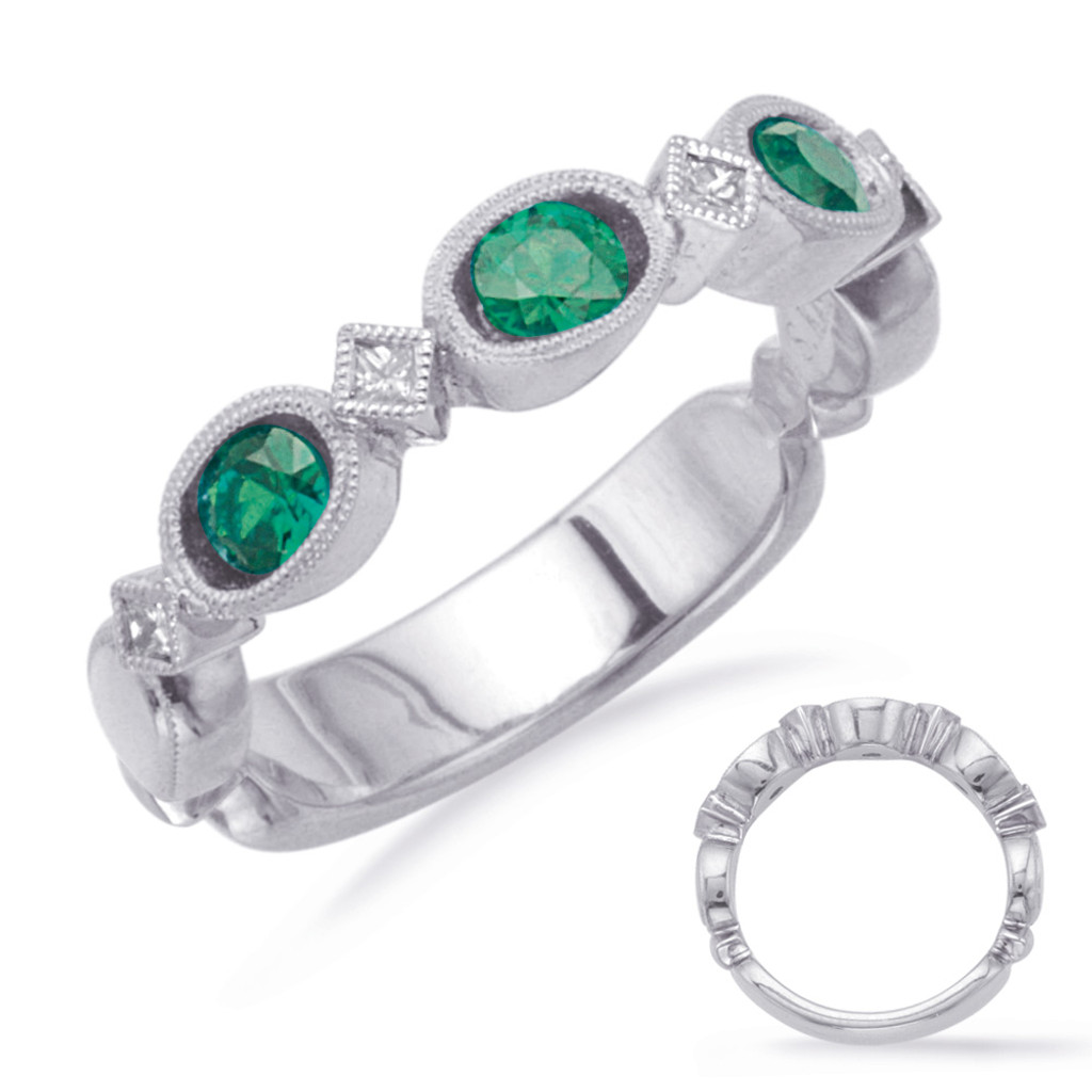 14KT White Gold Emerald & Diamond Stackable Ring  C5807-EWG