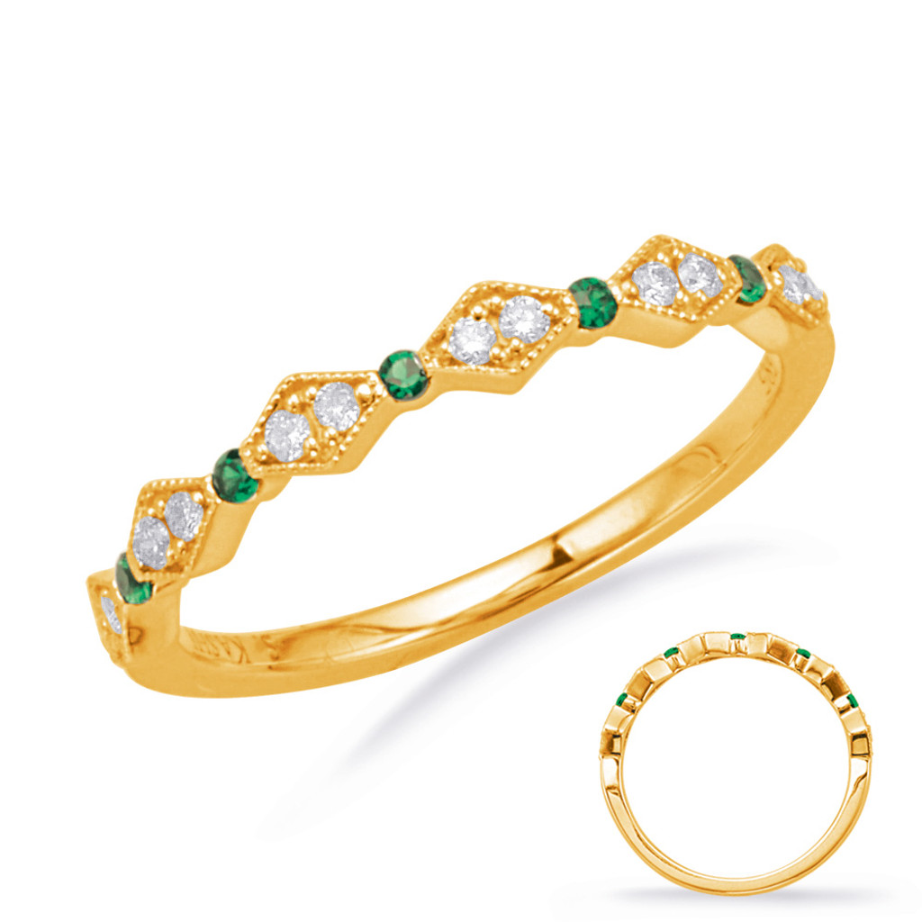 14KT Yellow Gold Emerald & Diamond Stackable Ring  C8031-EYG