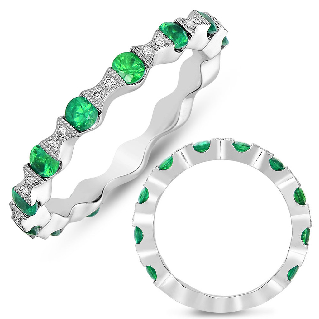 14KT White Gold Emerald & Diamond Band C4294-EWG