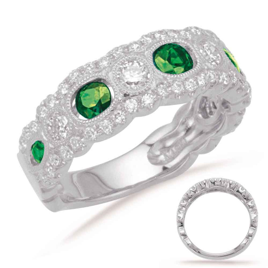 14KT White Gold Emerald & Diamond Band C5772-EWG