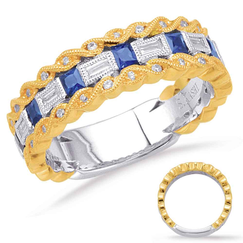 14KT Yellow &  White Sapphire & Diamond Stackable Ring  C5806-SYW