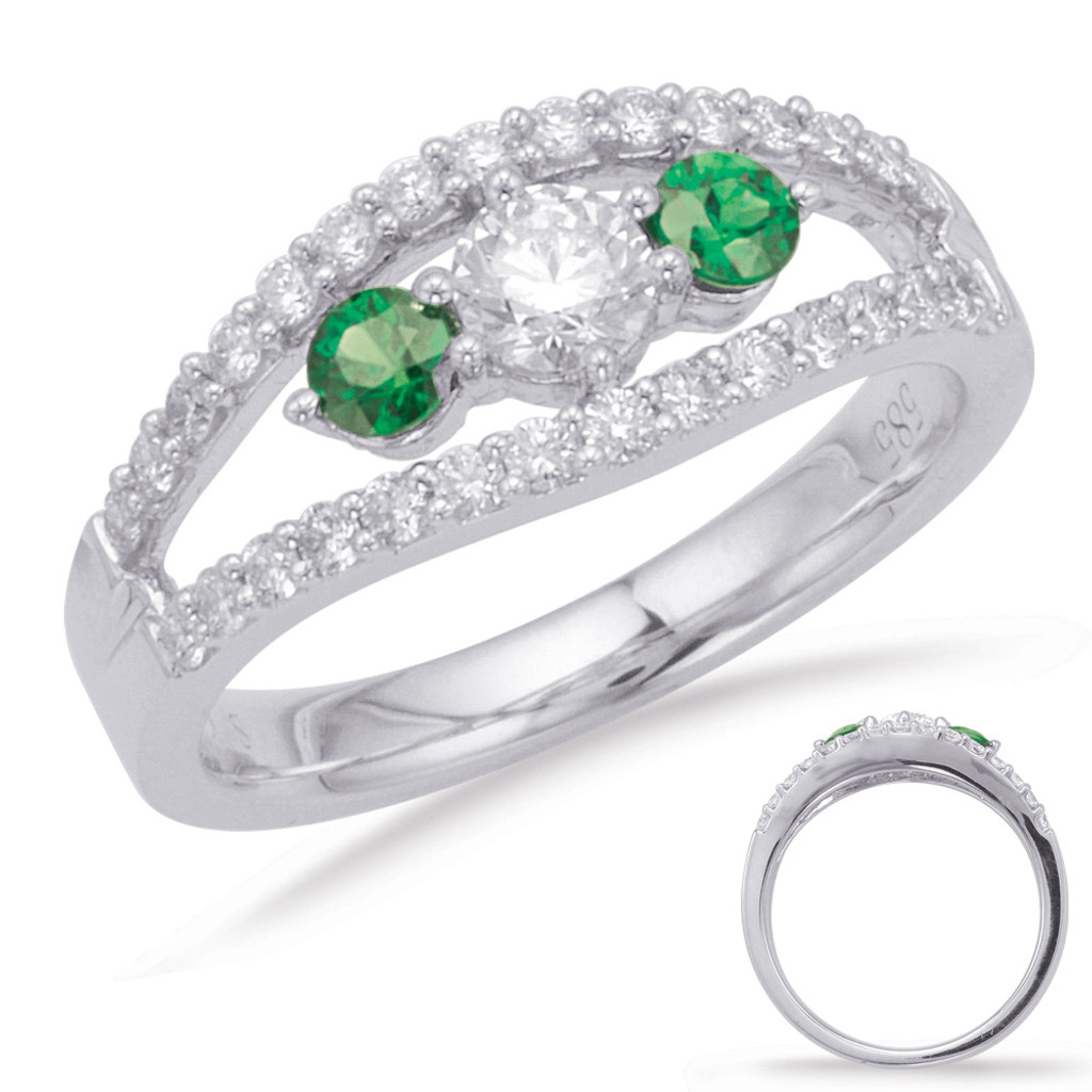 14KT White Gold Emerald & Diamond Stackable Ring  C3923-EWG
