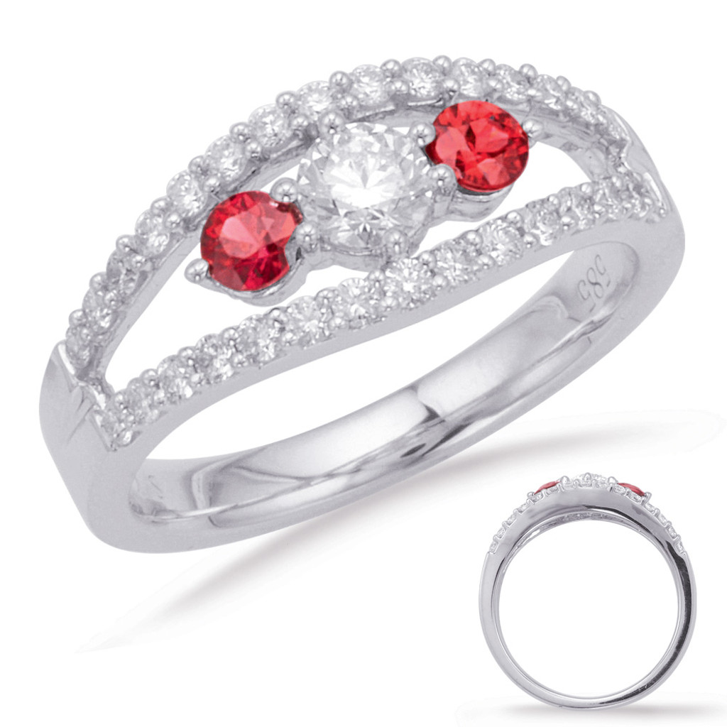 14KT White Gold Ruby & Diamond Stackable Ring  C3923-RWG